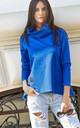 Cobalt Blue Turtleneck Sweatshirt by Makadamia