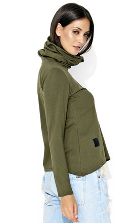 Khaki Green Turtleneck Sweatshirt by Makadamia