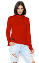 Red Turtleneck Sweatshirt by Makadamia