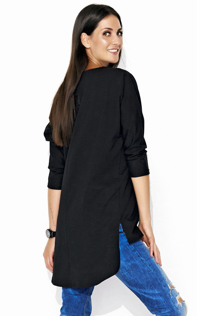 Dipped Hem Top with Batwing Sleeves in Black by Makadamia