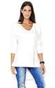 Dipped Hem Top with Batwing Sleeves in White by Makadamia