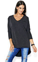 Dipped Hem Top with Batwing Sleeves in Dark Grey by Makadamia