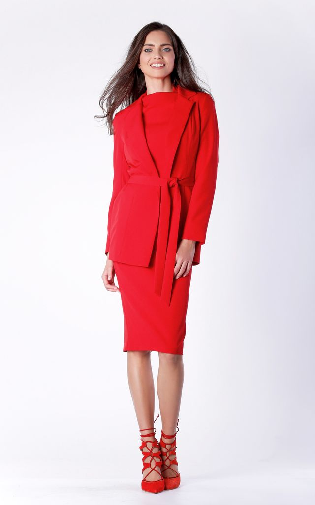 Red Classic Long Sleeve Belted Jacket by Bergamo