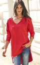 Dipped Hem Top with Batwing Sleeves in Red by Makadamia