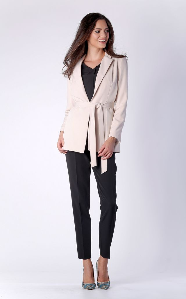 Beige Classic Long Sleeve Belted Jacket by Bergamo