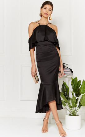 Black Satin Maxi Dress With Fishtail And Frill Cold Shoulder by Luna Product photo
