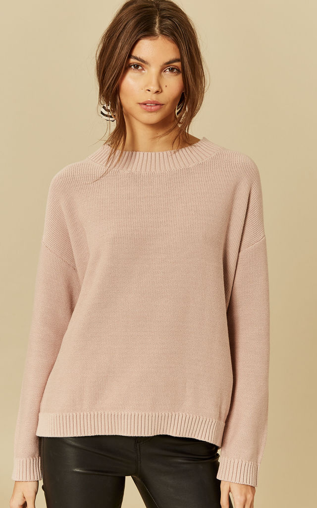 Dusty Pink Long Sleeve High Neck Knit by Selected Femme