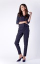 Navy Blue 3/4 Sleeve V-Neck Jumpsuit by Bergamo
