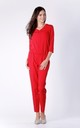 Red 3/4 Sleeve V-Neck Jumpsuit by Bergamo