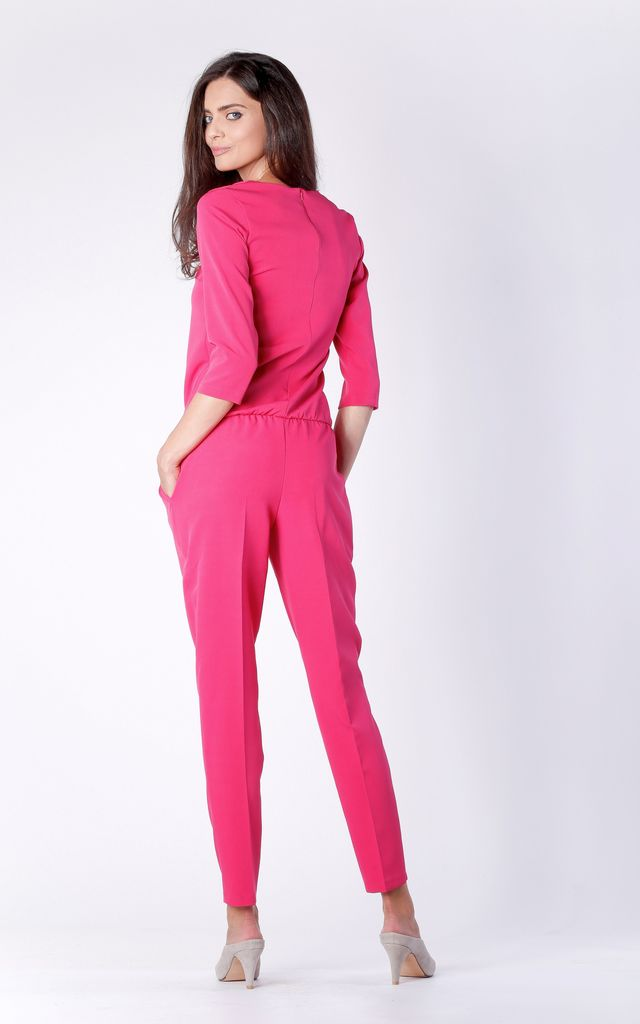 Pink 3/4 Sleeve V-Neck Jumpsuit by Bergamo