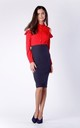 Navy Blue Midi Pencil Skirt by Bergamo