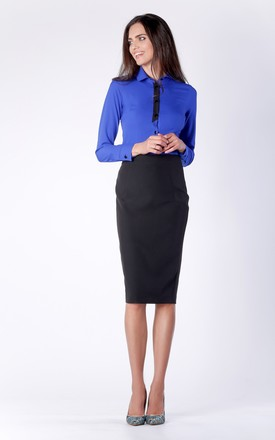 Black Midi Pencil Skirt by Bergamo