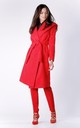 Red Wool Hoodie Belted Coat by Bergamo