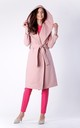 Pink Wool Hoodie Belted Coat by Bergamo
