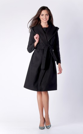 Black Wool Hoodie Belted Coat by Bergamo
