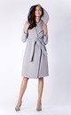 Grey Wool Hoodie Belted Coat by Bergamo