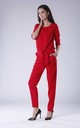 Belted Long Sleeve Jumpsuit in Red by Bergamo