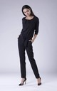 Belted Long Sleeve Jumpsuit in Black by Bergamo