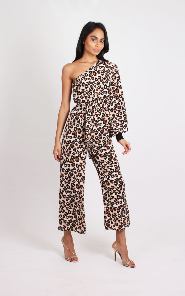 06905c0c49b ... TALL Leopard Print One Shoulder Jumpsuit by Silver Birch ...