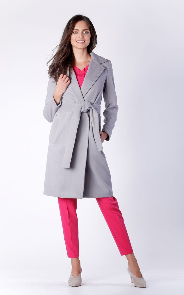 Grey Belted Wool  Coat With Pockets by Bergamo