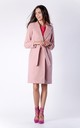 Pink Belted Wool  Coat With Pockets by Bergamo