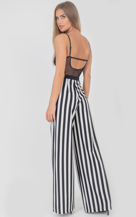 Black and White Wide Leg Stripe Plisse Trousers by Saint Genies