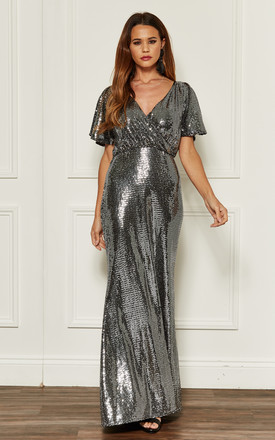 Silver Sequin Cap Sleeve Maxi Dress by John Zack Product photo