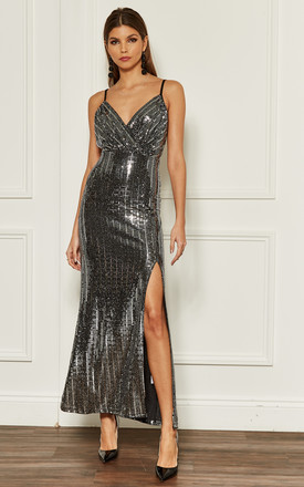 Silver Sequin Strappy Maxi Dress by John Zack Product photo