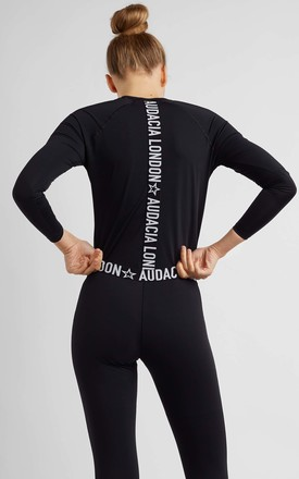 BLACK LONG SLEEVE TOP WITH BRANDED ELASTIC by A U D A C I A L D N
