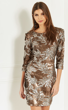 Bronze Sequin Leaf Dress by Bella and Blue Product photo