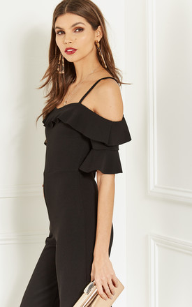 BLACK COLD SHOULDER FRILL JUMPSUIT by Bella and Blue