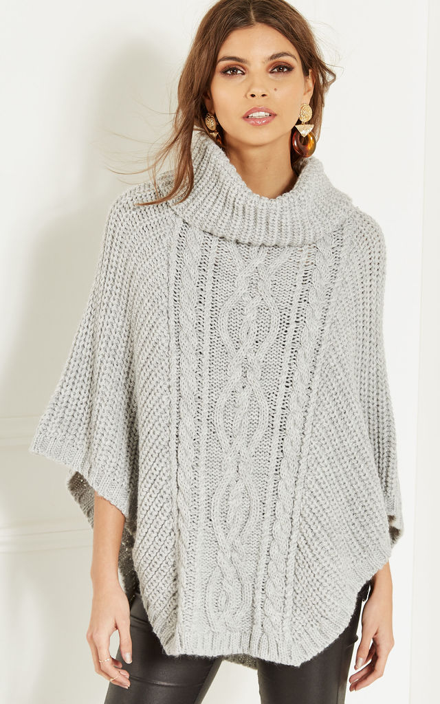 Grey Cowl Neck Cable Knit Poncho by Bella and Blue