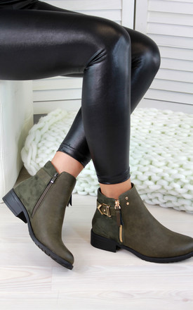 Army Green Buckle Zip Ankle Boots by Larena Fashion