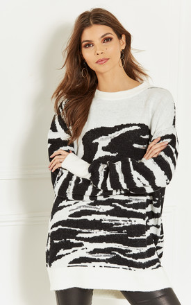 Black and White Sequin Detail Zebra Print Jumper by Lilah Rose
