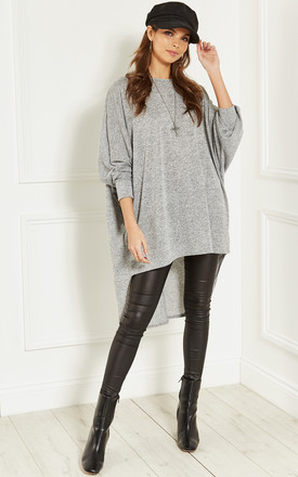 Grey Oversized Dipped Hem Long Sleeved Top by Bella and Blue