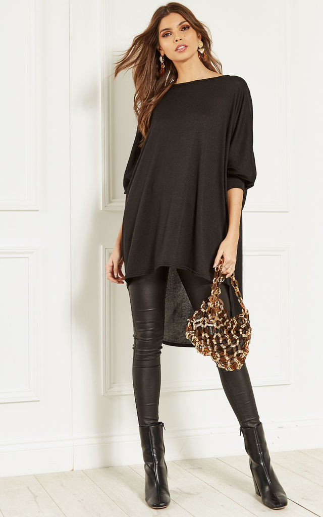 Black Oversized Dipped Hem Long Sleeved Top by Bella and Blue