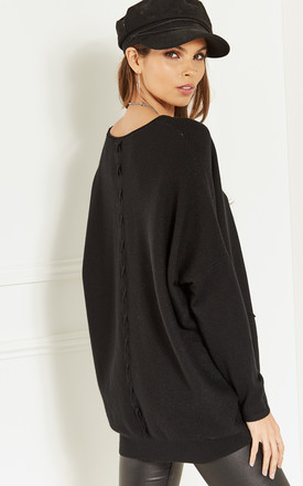Black Open Neck Two Pocket Jumper by Bella and Blue