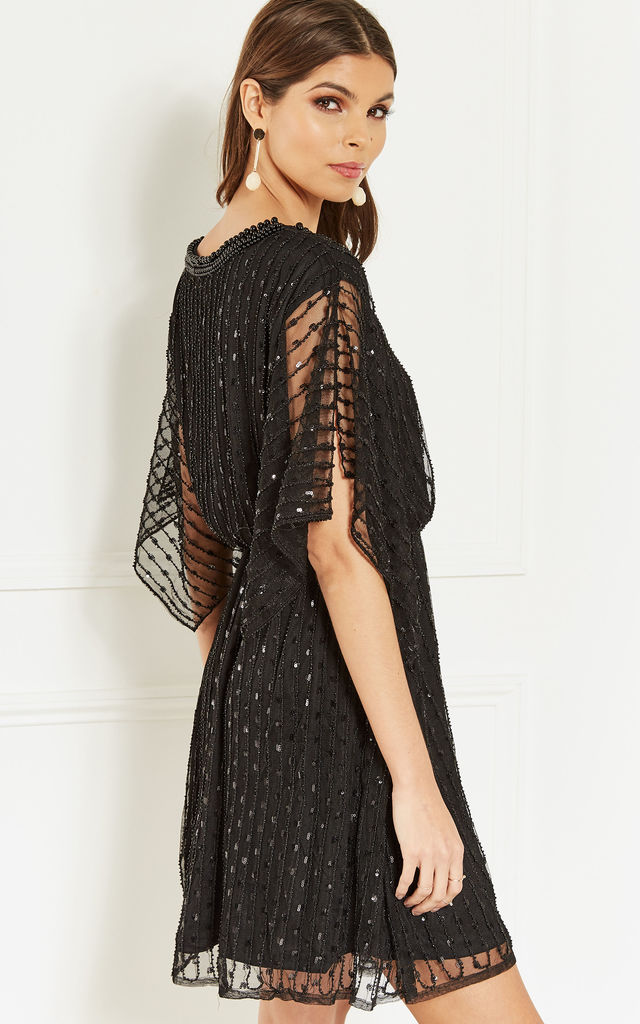 Black Sequin Kimono Sleeve Dress by Bella and Blue