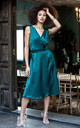Midi Satin Wrap Dress Emerald Green with Side Split by likemary