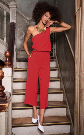 Culotte Jumpsuit One Shoulder Red by likemary Product photo