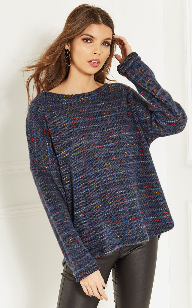 Navy Knit Jumper with muticolour speckled detail by Bella and Blue