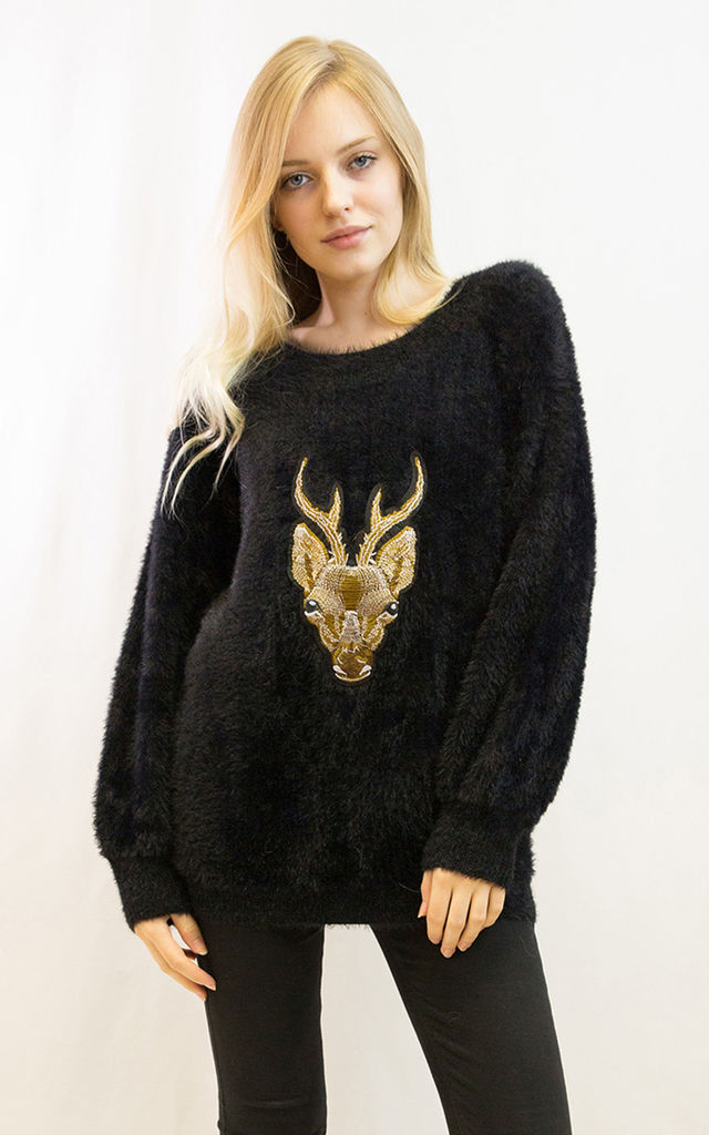 Fluffy Christmas Jumper with Embroidered Reindeer in Black by CY Boutique