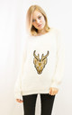 Fluffy Christmas Jumper with Embroidered Reindeer in White by CY Boutique