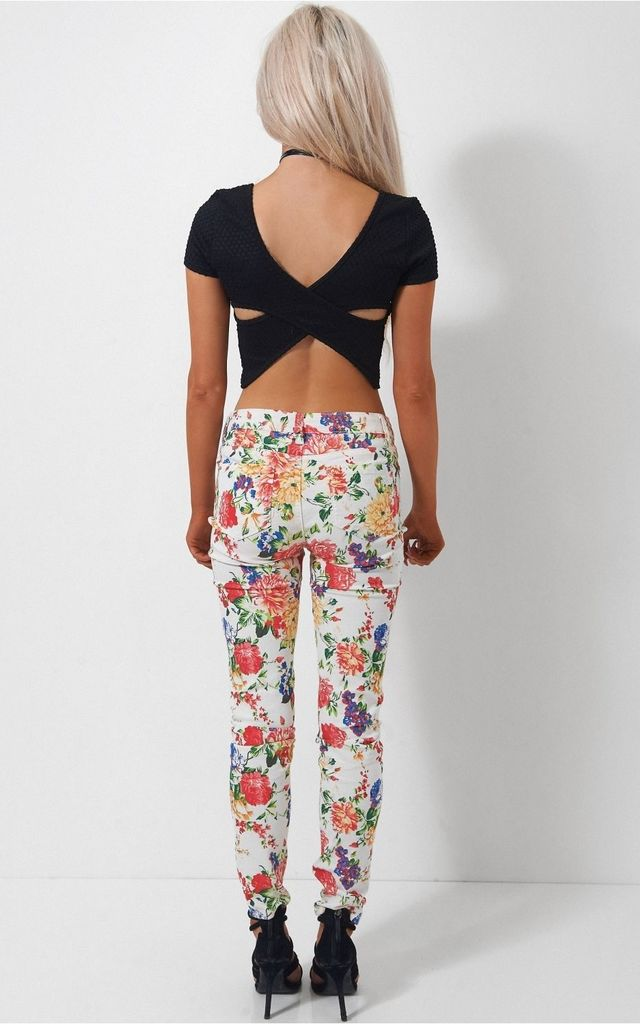 White Floral Skinny Jeans by The Fashion Bible