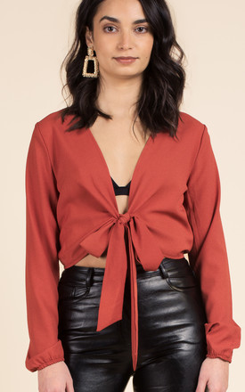 Tie Front Cropped Top by We Run This Product photo