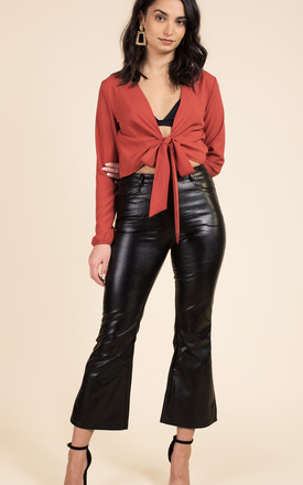 Faux Leather Cropped Trousers by We Run This Product photo