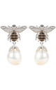 Baroque Drop Silver Earrings with Honey Bee Pearl by Latelita