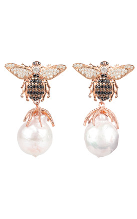 Baroque Drop Rose Gold Earrings with Honey Bee Pearl by Latelita