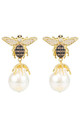 Baroque Drop Gold Earrings with Honey Bee Pearl by Latelita