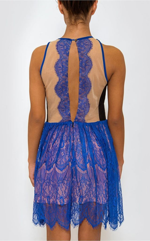 LUXE Blue Lace Sleeveless Dress by The Fashion Bible